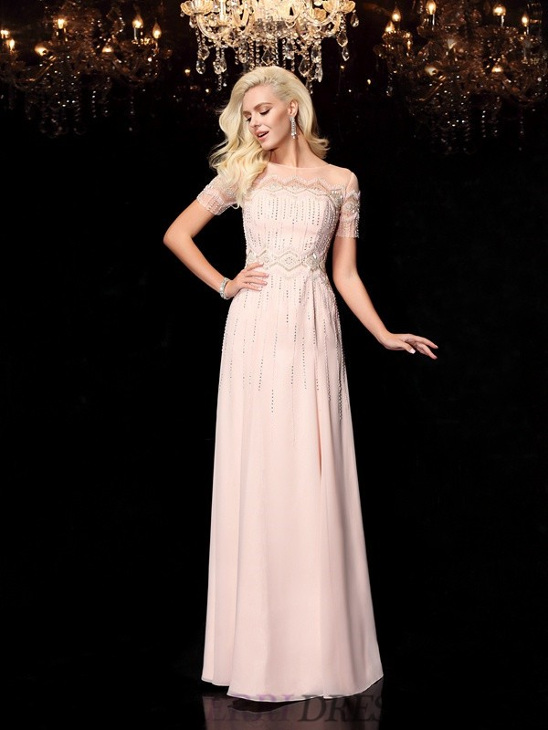 A-Line/Princess Bateau Chiffon Short Sleeves Floor-Length Evening Dresses