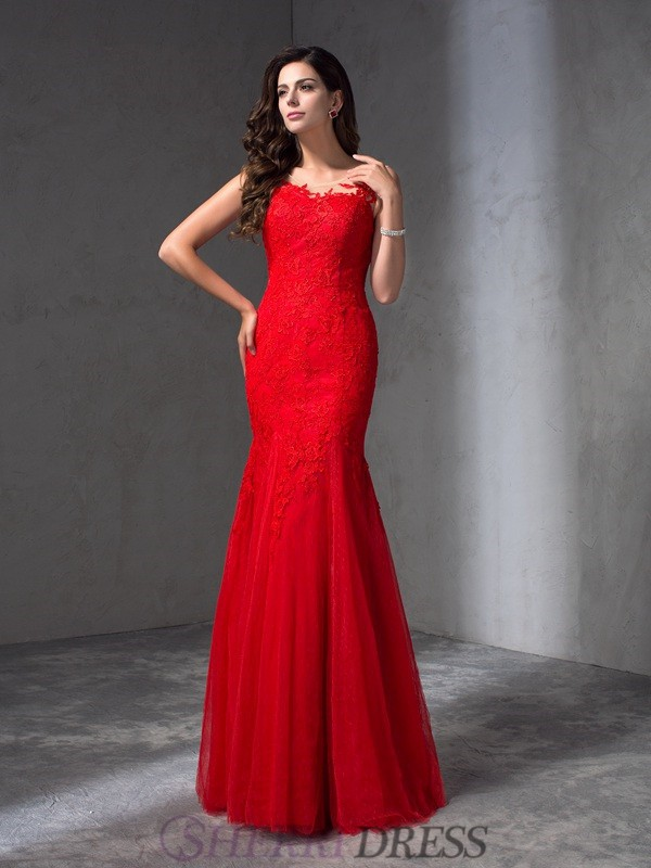 Sheath/Column Scoop Lace Sleeveless Floor-Length Prom Dresses