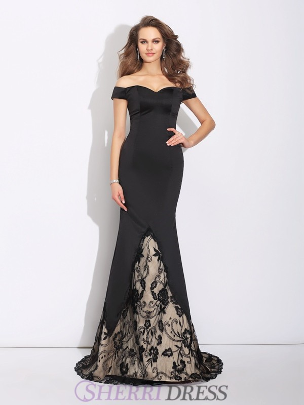 Trumpet/Mermaid Off the Shoulder Satin Sleeveless Sweep/Brush Train Evening Dresses
