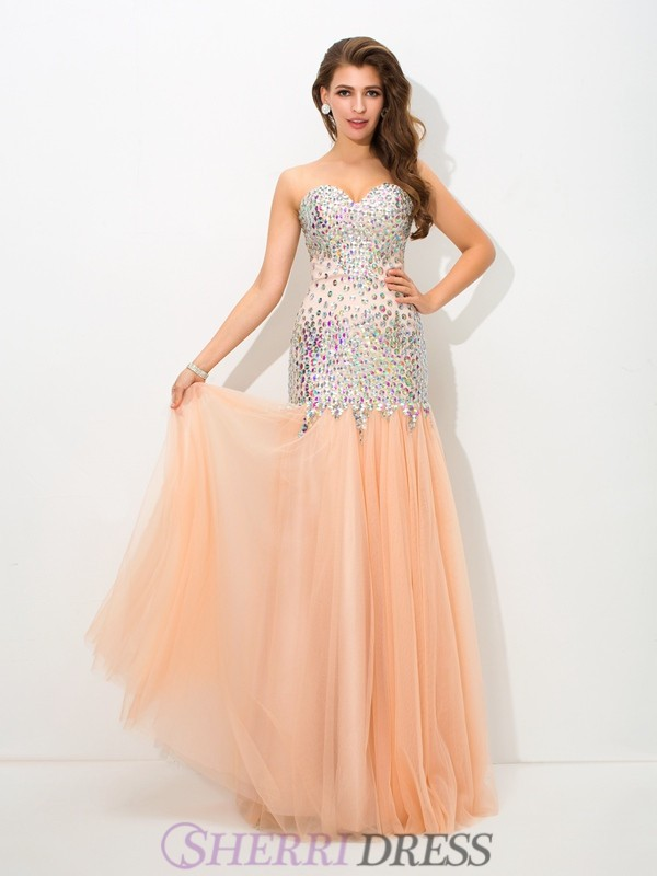Trumpet/Mermaid Sweetheart Net Sleeveless Floor-Length Evening Dresses