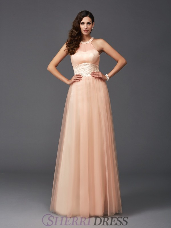 A-Line/Princess Halter Net Sleeveless Floor-Length Evening Dresses