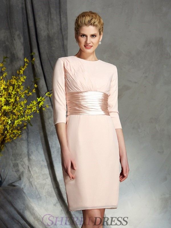 Sheath/Column Scoop Chiffon 3/4 Sleeves Short/Mini Mother of the Bride Dresses