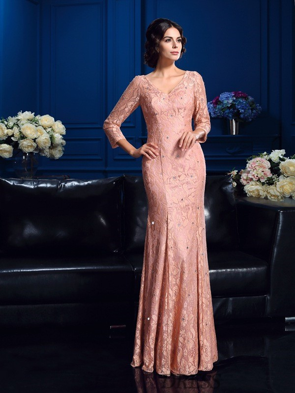 Sheath/Column V-neck Lace 3/4 Sleeves Floor-Length Mother of the Bride Dresses