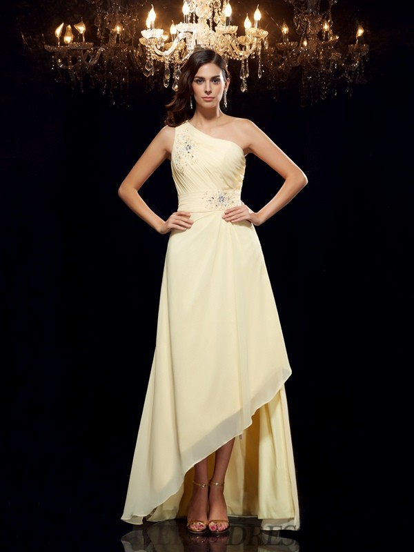A-Line/Princess One-Shoulder Chiffon Sleeveless Asymmetrical Prom Dresses