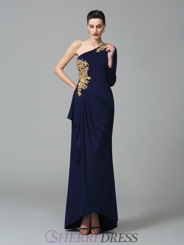 Sheath/Column One-Shoulder Spandex Long Sleeves Floor-Length Prom Dresses