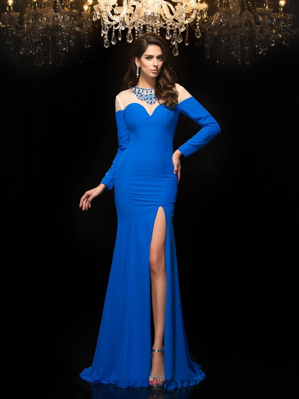 Sheath/Column Jewel Chiffon Long Sleeves Floor-Length Prom Dresses