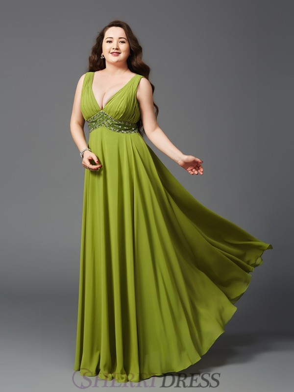 A-Line/Princess Straps Chiffon Sleeveless Floor-Length Plus Size Prom Dresses