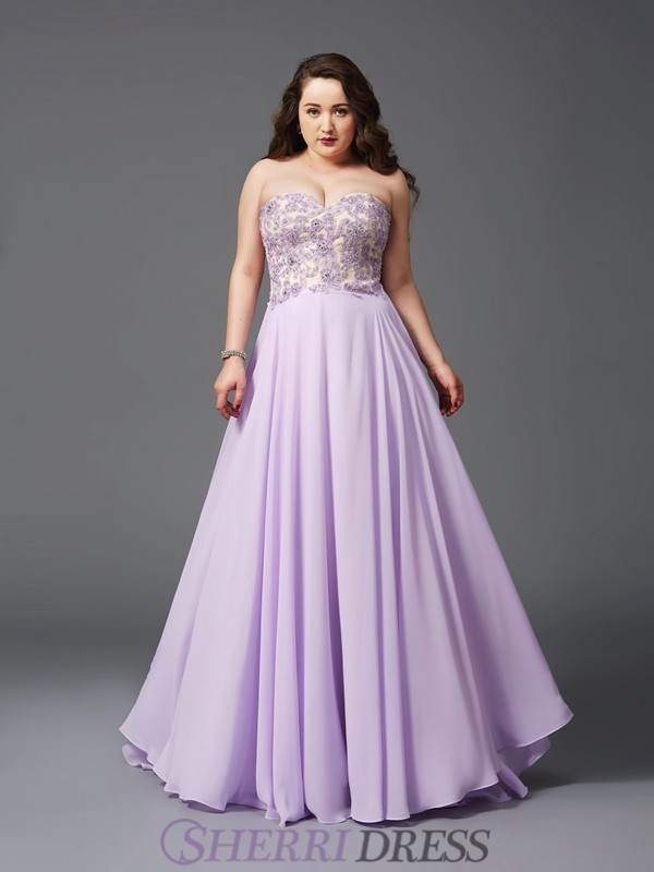 A-Line/Princess Sweetheart Chiffon Sleeveless Sweep/Brush Train Plus Size Prom Dresses