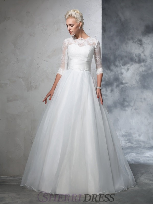 Ball Gown Jewel Organza 3/4 Sleeves Floor-Length Wedding Dresses