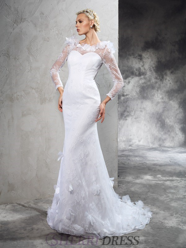 Sheath/Column Sheer Neck Satin Long Sleeves Court Train Wedding Dresses