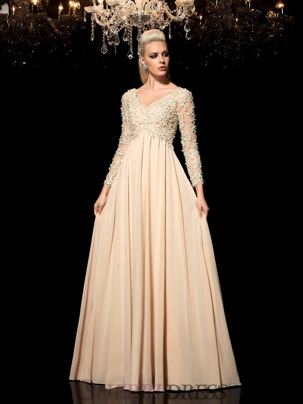 A-Line/Princess V-neck Chiffon Long Sleeves Floor-Length Prom Dresses
