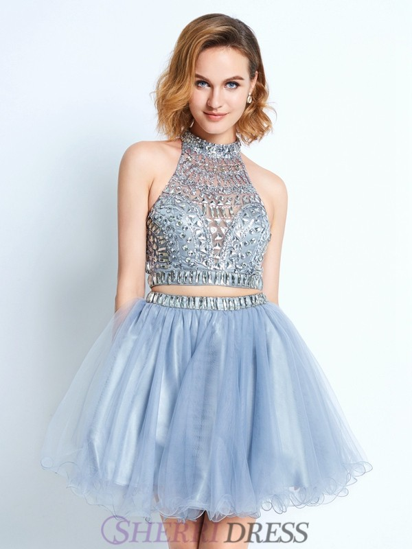 A-Line/Princess High Neck Net Sleeveless Short/Mini Two Piece Homecoming Dresses