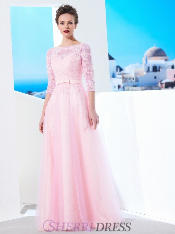 A-Line/Princess Bateau Tulle 1/2 Sleeves Floor-Length Dresses