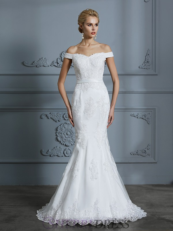 Trumpet/Mermaid Off-the-Shoulder Tulle Sleeveless Sweep/Brush Train Wedding Dresses