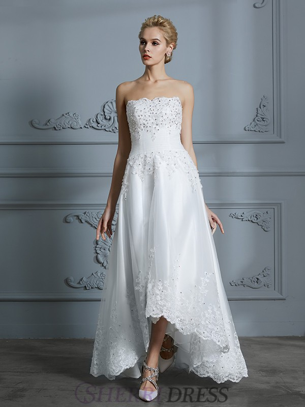 A-Line/Princess Sweetheart Tulle Sleeveless Asymmetrical Wedding Dresses