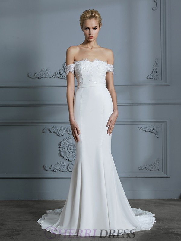 Trumpet/Mermaid Off-the-Shoulder Chiffon Sleeveless Sweep/Brush Train Wedding Dresses