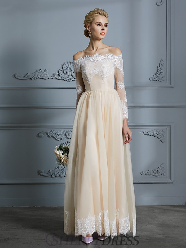 A-Line/Princess Off-the-Shoulder Tulle Long Sleeves Floor-Length Wedding Dresses