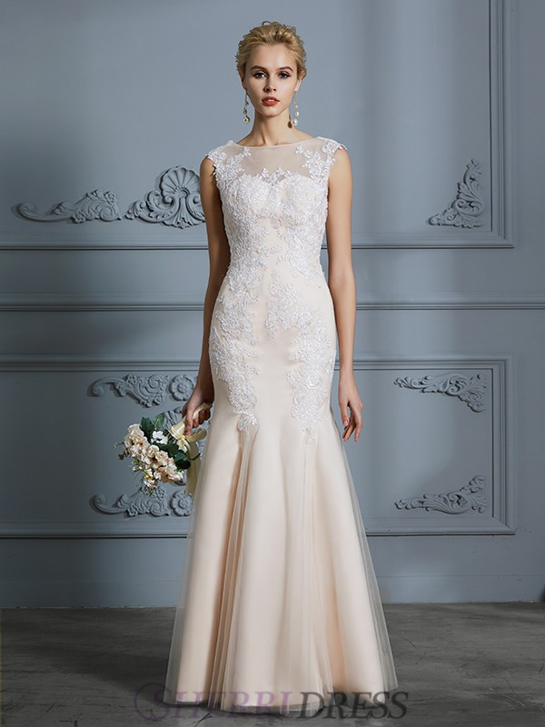 Trumpet/Mermaid Scoop Tulle Sleeveless Floor-Length Wedding Dresses
