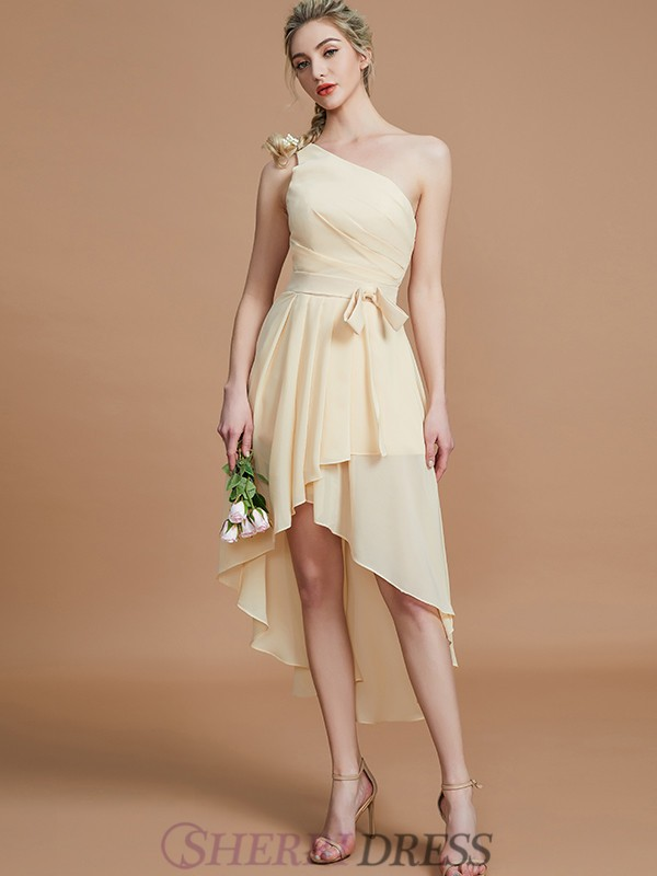 A-Line/Princess One-Shoulder Chiffon Sleeveless Asymmetrical Bridesmaid Dresses