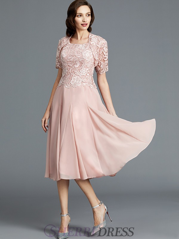 A-Line/Princess Scoop Chiffon Sleeveless Tea-Length Mother of the Bride Dresses