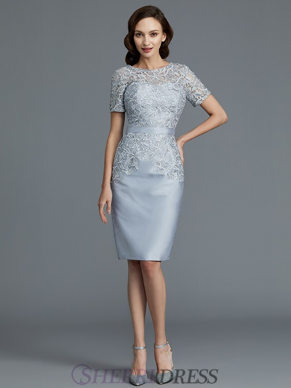 449f2c6d9a2094 Sheath Column Scoop Satin Short Sleeves Knee-Length Mother of the Bride  Dresses