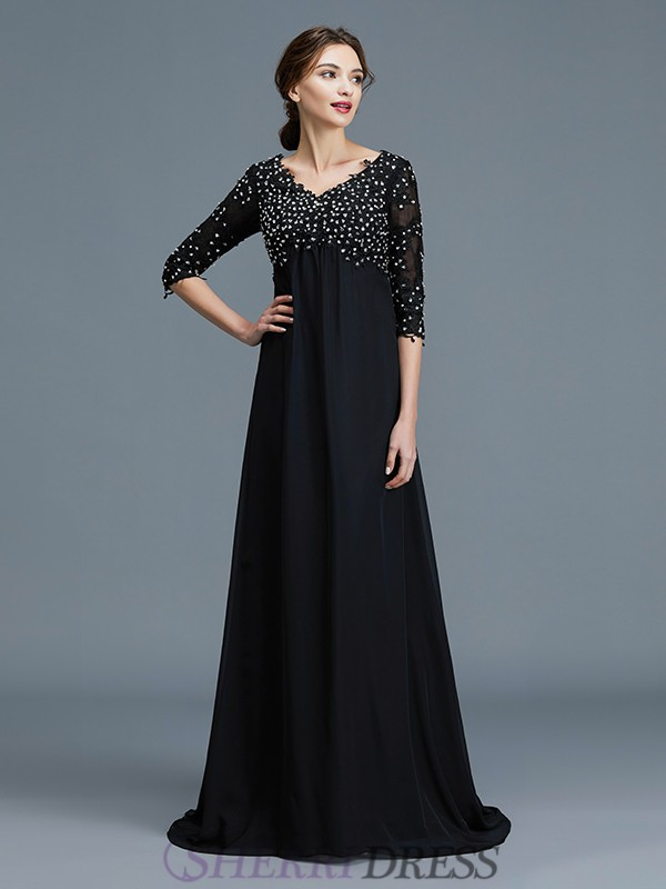 A-Line/Princess V-neck Chiffon 1/2 Sleeves Floor-Length Mother of the Bride Dresses