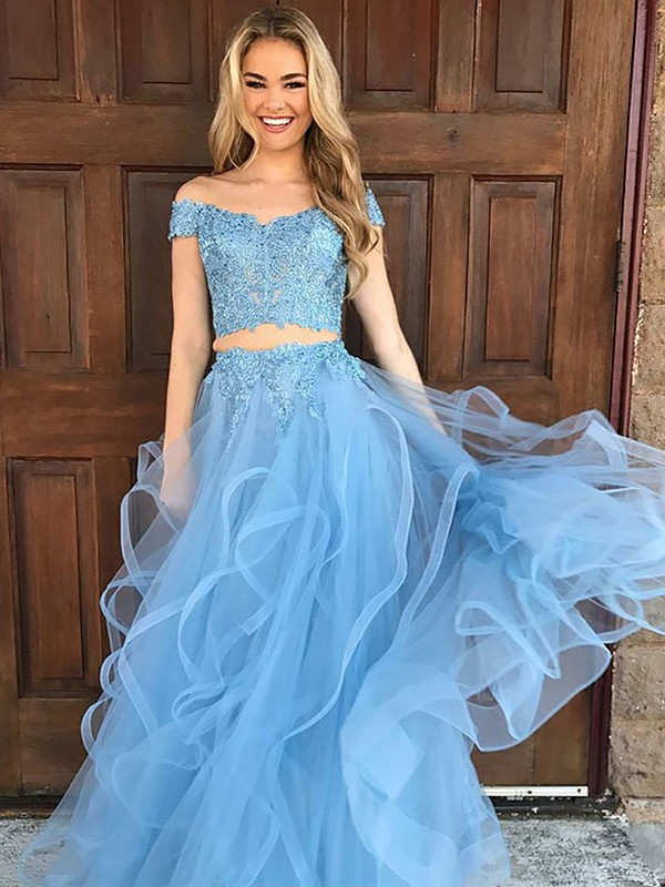 A-Line/Princess Off-the-Shoulder Tulle Sleeveless Floor-Length Two Piece Dresses