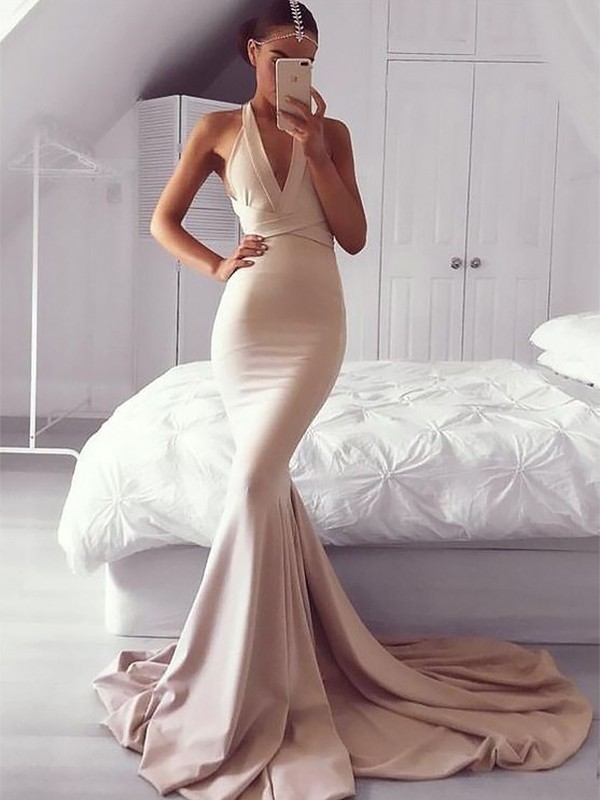 Trumpet/Mermaid V-neck Satin Sleeveless Sweep/Brush Train Dresses