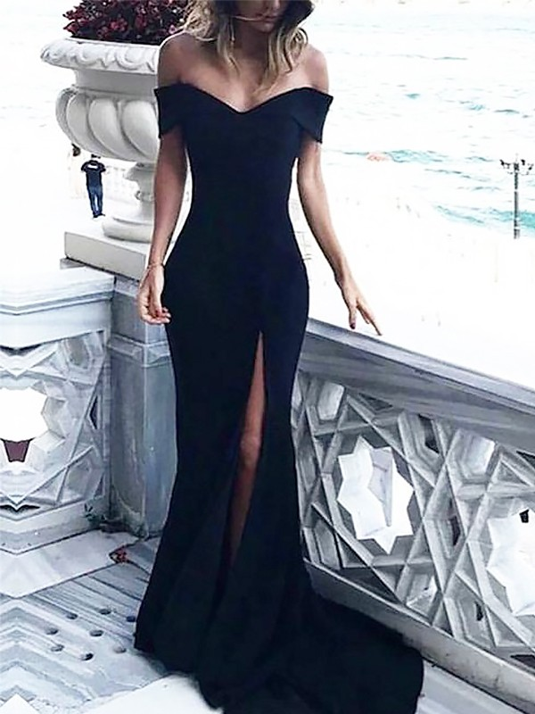 Sheath/Column Off-the-Shoulder Satin Sleeveless Sweep/Brush Train Dresses