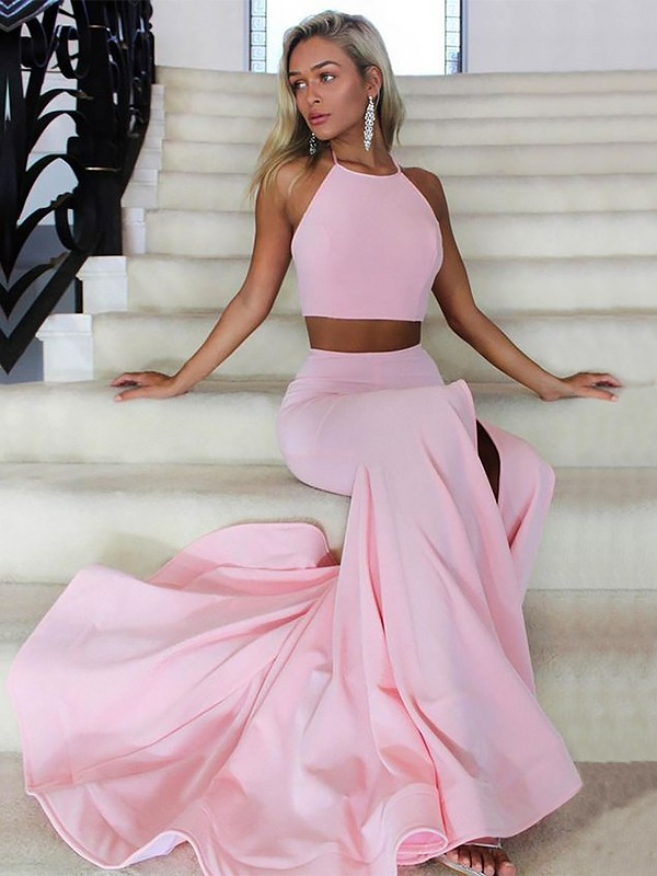 A-Line/Princess Halter Satin Sleeveless Sweep/Brush Train Two Piece Dresses