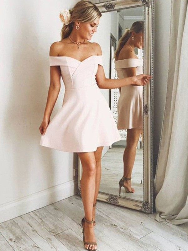 A-Line/Princess Off-the-Shoulder Satin Sleeveless Short/Mini Dresses