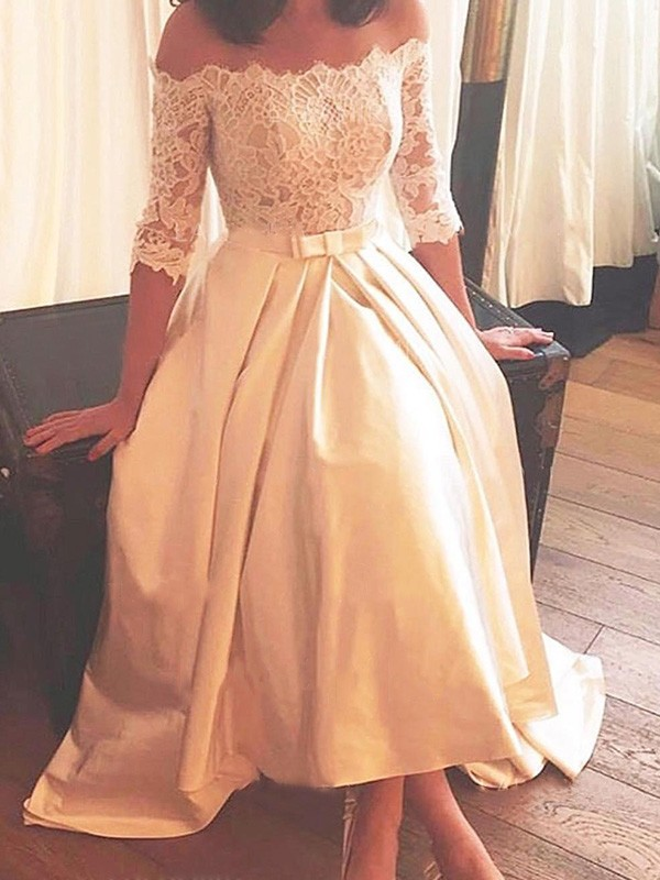 A-Line/Princess Off-the-Shoulder Satin 1/2 Sleeves Asymmetrical Wedding Dresses