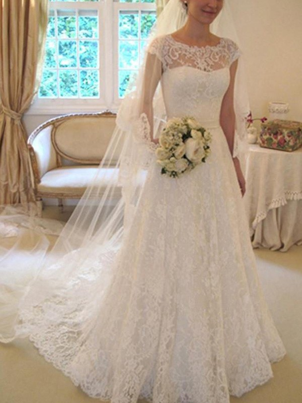 A-Line/Princess Square Lace Short Sleeves Court Train Wedding Dresses