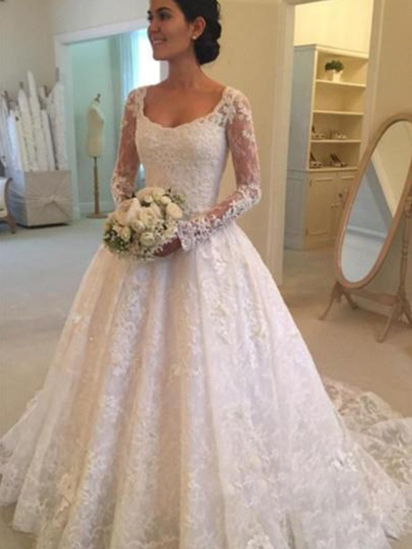 Ball Gown Scoop Lace Long Sleeves Cathedral Train Wedding Dresses