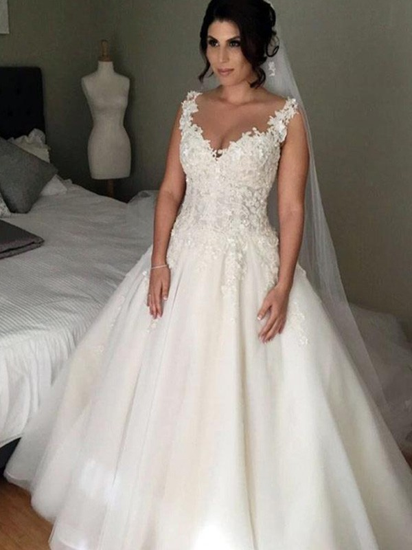 Ball Gown V-neck Tulle Sleeveless Court Train Wedding Dresses
