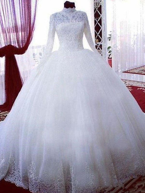 Ball Gown High Neck Tulle Sleeveless Chapel Train Wedding Dresses