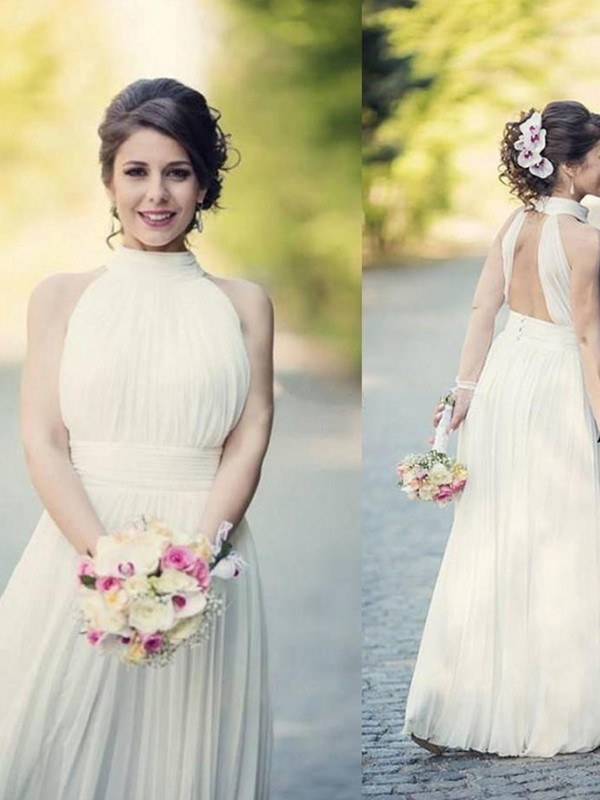 A-Line/Princess Halter Tulle Sleeveless Floor-Length Wedding Dresses