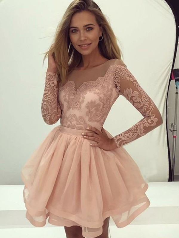 A-Line/Princess Scoop Organza Long Sleeves Short/Mini Dresses