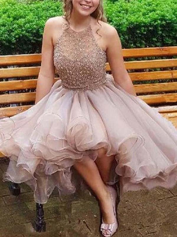 A-Line/Princess Halter Tulle Sleeveless Short/Mini Dresses