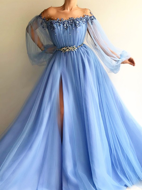 65f49e89d6 A-Line Princess Off-the-Shoulder Tulle Long Sleeves Floor-Length