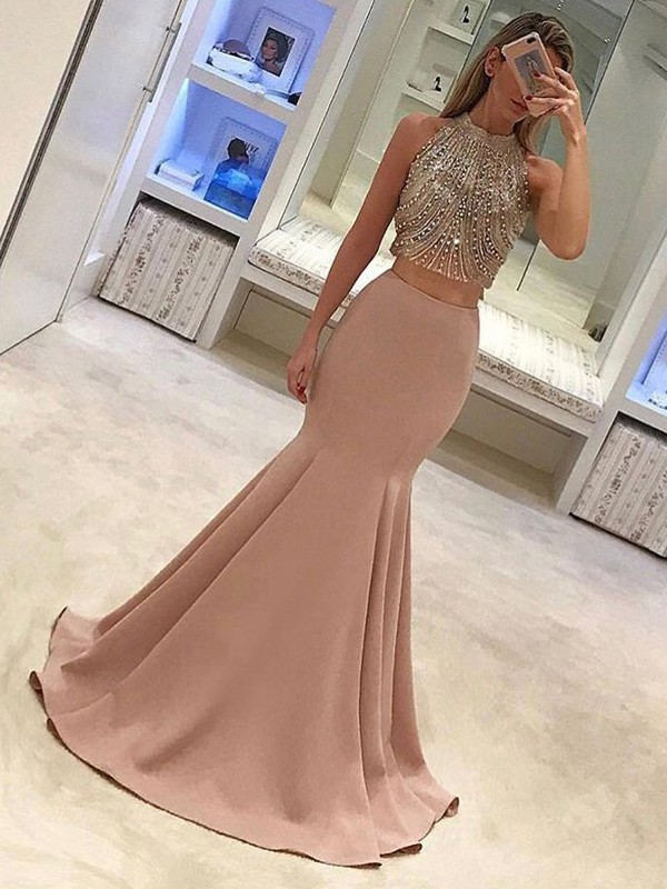 Trumpet/Mermaid High Neck Satin Sleeveless Sweep/Brush Train Dresses