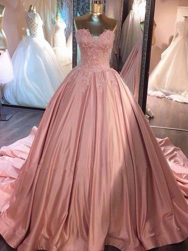 Ball Gown Sweetheart Satin Sleeveless Court Train Dresses