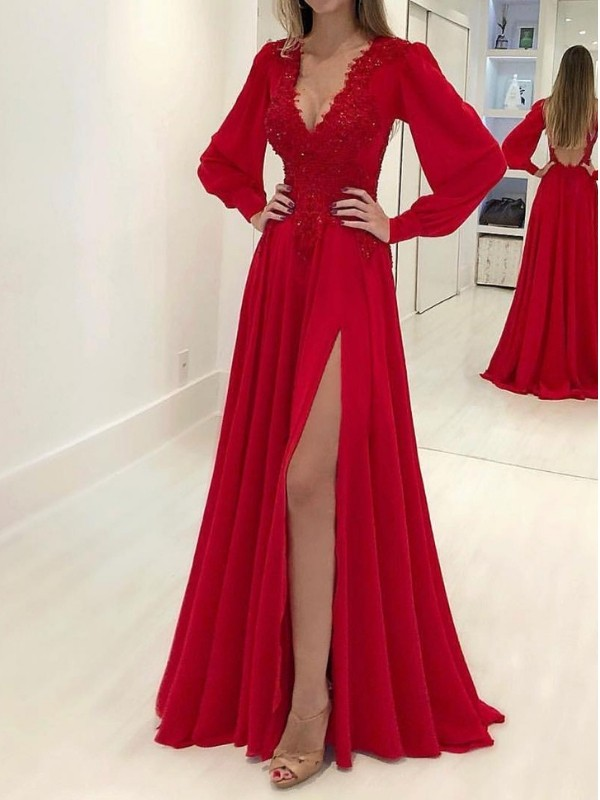 A-Line/Princess V-neck Chiffon Long Sleeves Sweep/Brush Train Dresses