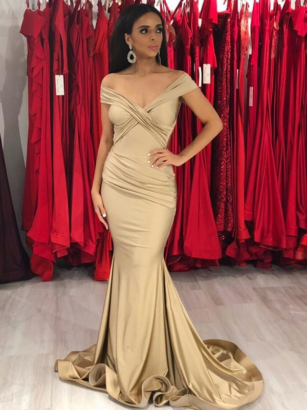 Trumpet/Mermaid Off-the-Shoulder Satin Sleeveless Sweep/Brush Train Dresses