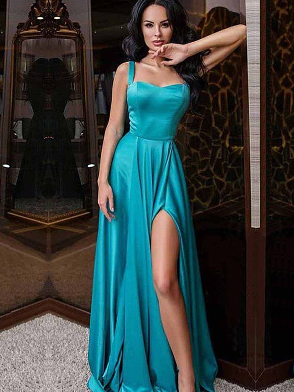 A-Line/Princess Straps Satin Sleeveless Sweep/Brush Train Dresses