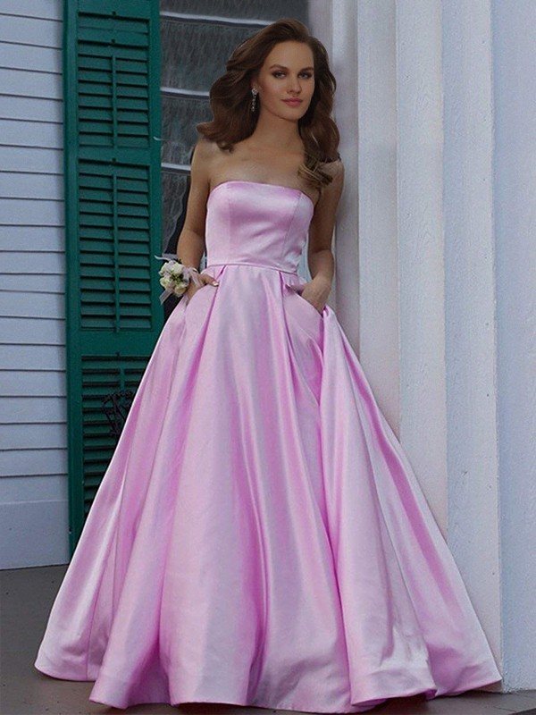 A-Line/Princess Strapless Satin Sleeveless Floor-Length Dresses