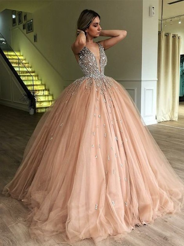 Ball Gown V-neck Tulle Sleeveless Sweep/Brush Train Dresses