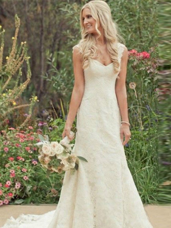 Trumpet/Mermaid V-neck Lace Sleeveless Sweep/Brush Train Wedding Dresses