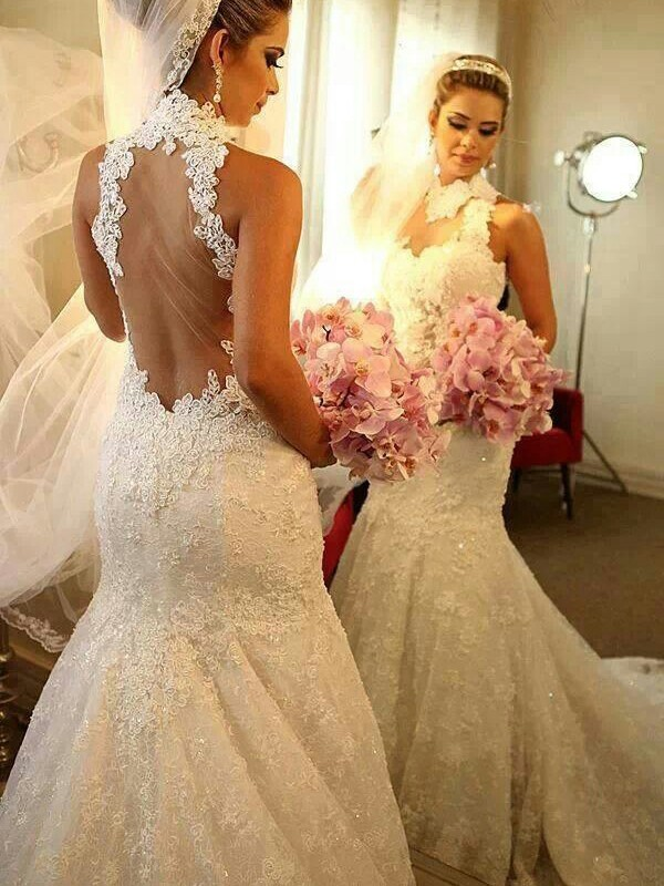 Trumpet/Mermaid High Neck Lace Sleeveless Court Train Wedding Dresses