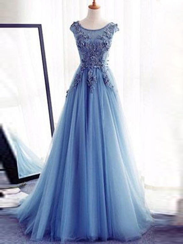 Ball Gown Jewel Tulle Sleeveless Floor-Length Dresses